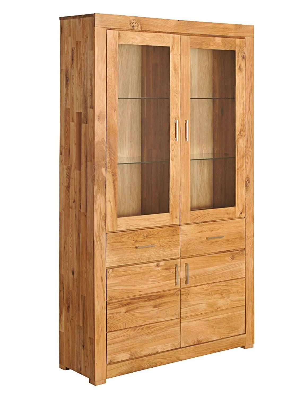 SAM® Vitrine Ancona - 17008 massive Wildeiche geölte Oberfläche 2 Schubfächer 4 Türen 2 Türen mit Glaseinsatz großzügiger Stauraum flexibel einsetzbar Lieferung mit einer Spedition