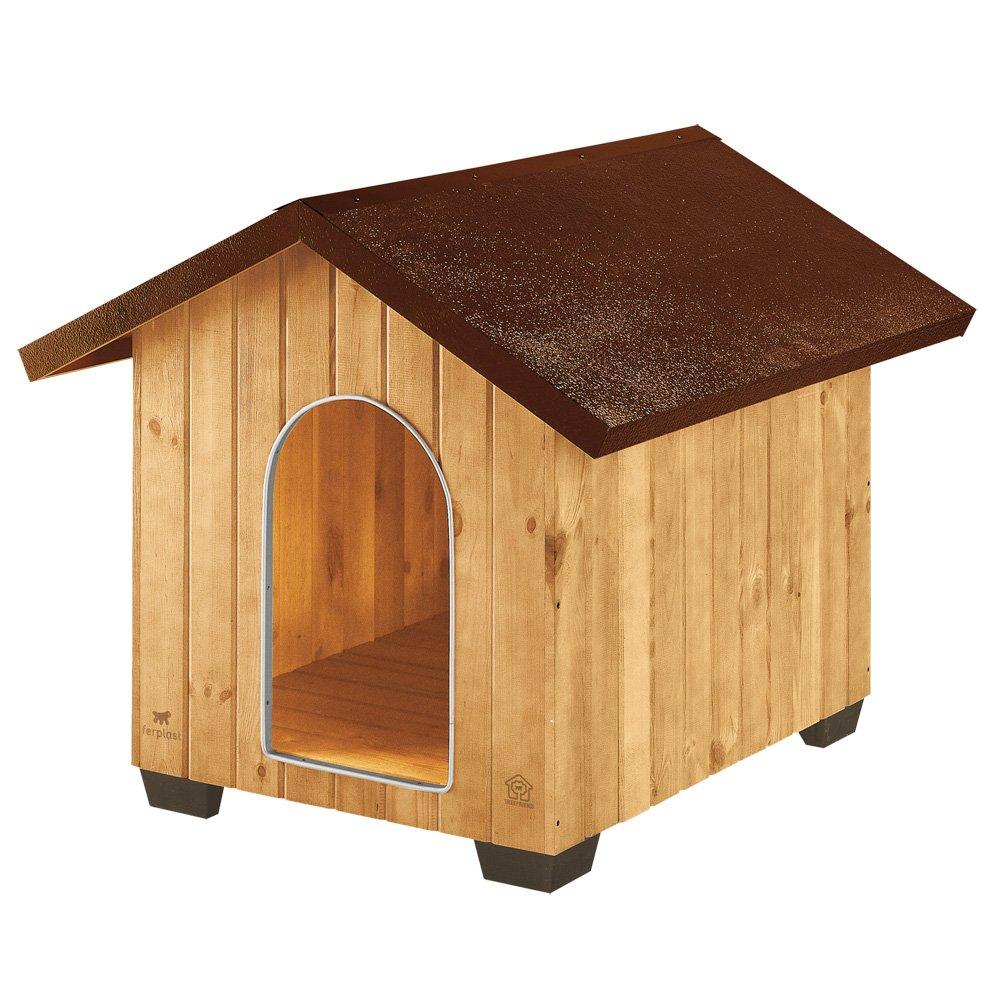 Feplast 87004000 Caseta de Exterior para Perros Domus Extra Large, Robusta Madera Ecosostenible, Pies de Plástico, Rejilla de Ventilación, 93.5 x 113.5 x ...