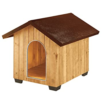 Feplast 87004000 Caseta de Exterior para Perros Domus Extra Large, Robusta Madera Ecosostenible, Pies