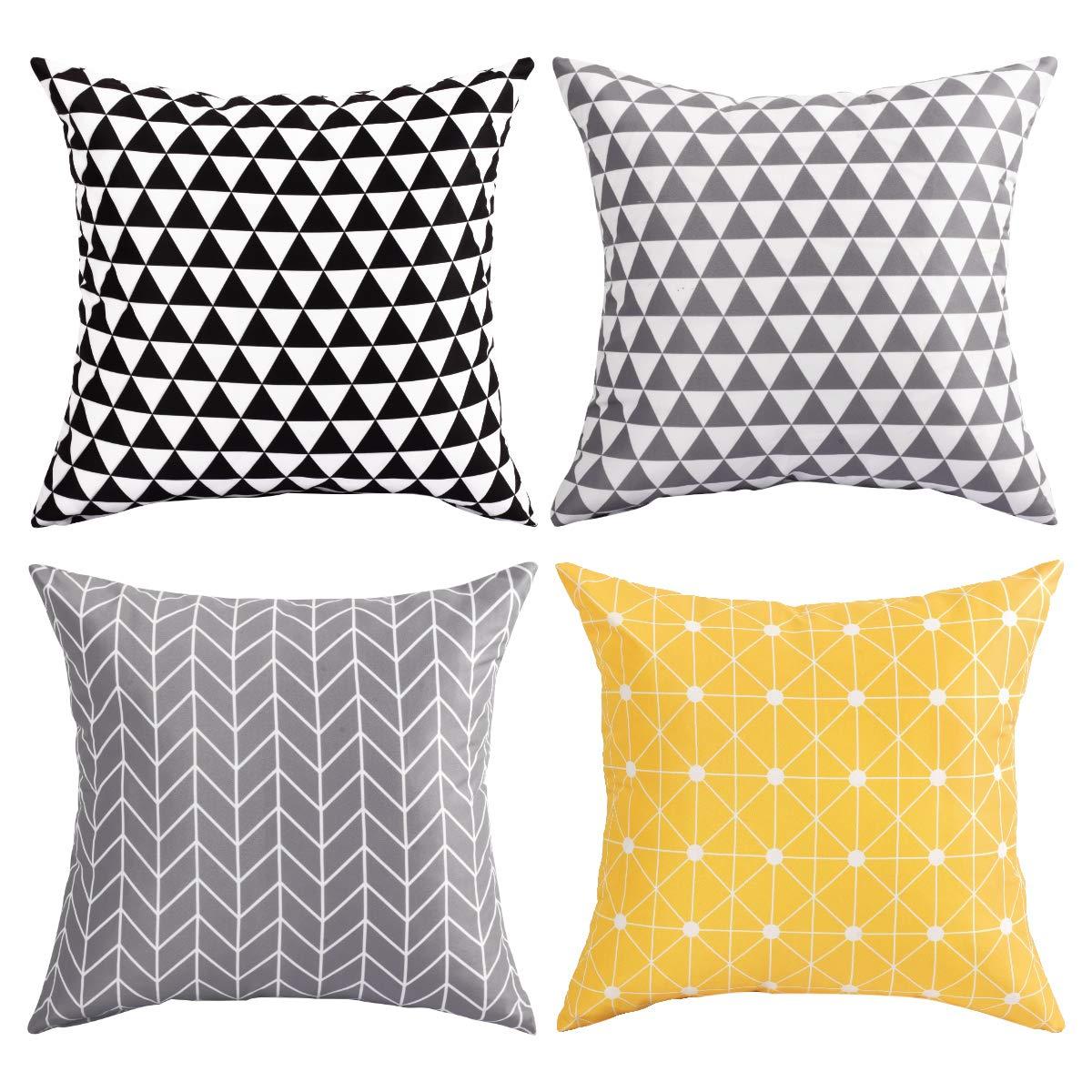 BLEUM CADE Decorative Throw Pillow Cover Case Cushion Modern Decorative for Sofa Couch Bed Car Set Stripes Geometric Home Decor 4 Packs 18 x 18 inch