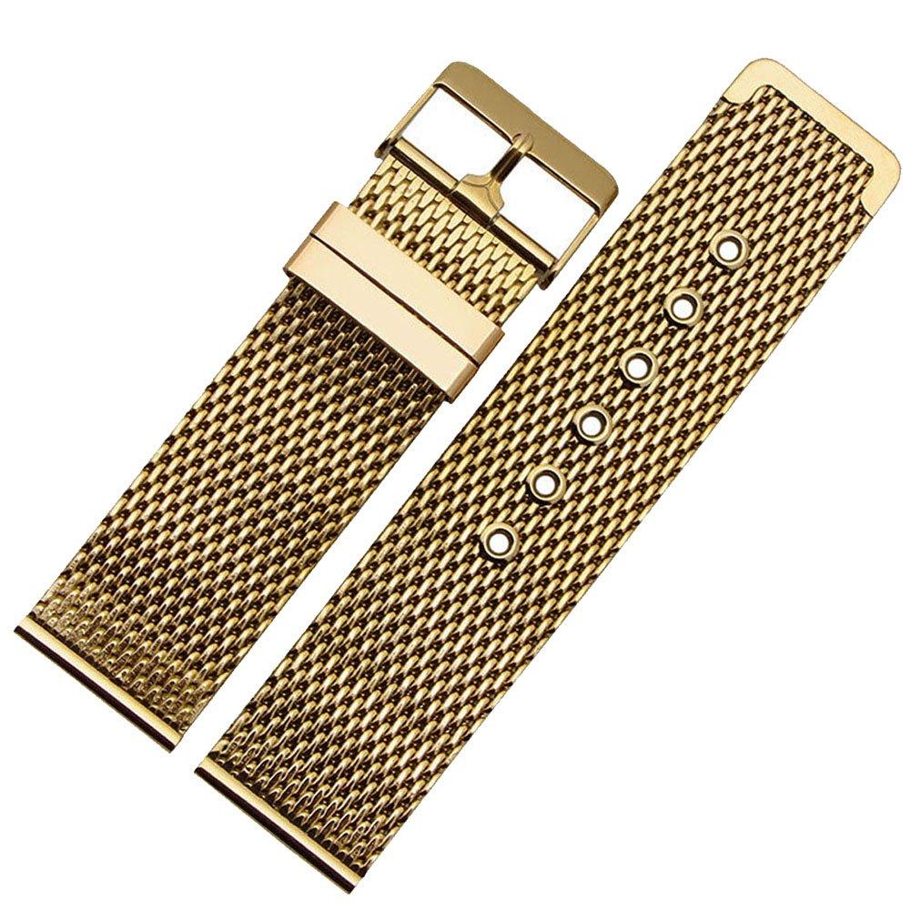 MSTRE BXGステンレススチール時計バンドWovenスチールストラップソリッドリンク+ツール+スプリングバー 20mm ゴールド 20mm|ゴールド ゴールド 20mm B0723FSDX2
