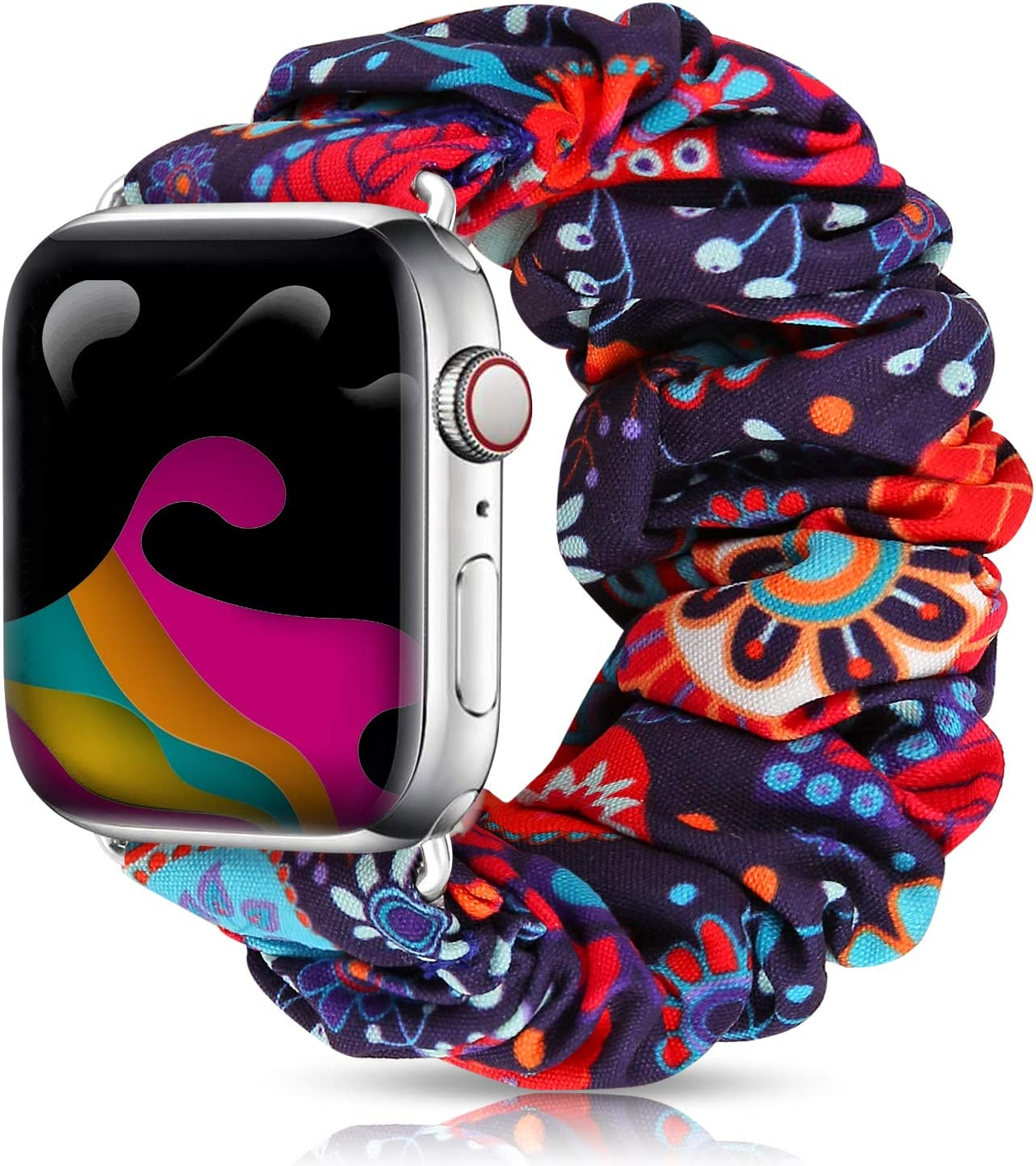 Soft Pattern Printed Fabric Sport Replacement Wristbands Bands Compatible with Apple Watch Band 38mm 40mm 42mm, for Women with iWatch Series 5 4 3 2 1 (Peafowel, 42mm/44mm)