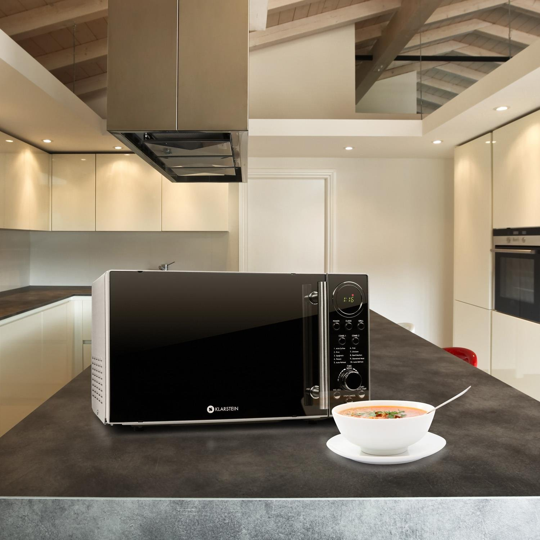 Klarstein Luminance Prime - microondas, 20 l cámara de cocción, microondas con función de parrilla, 12 programas, acero inoxidable, recubrimiento ...