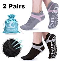 Muezna Non Slip Yoga Socks for Women, Anti-skid Pilates Barre Bikram Studio Socks with Grips