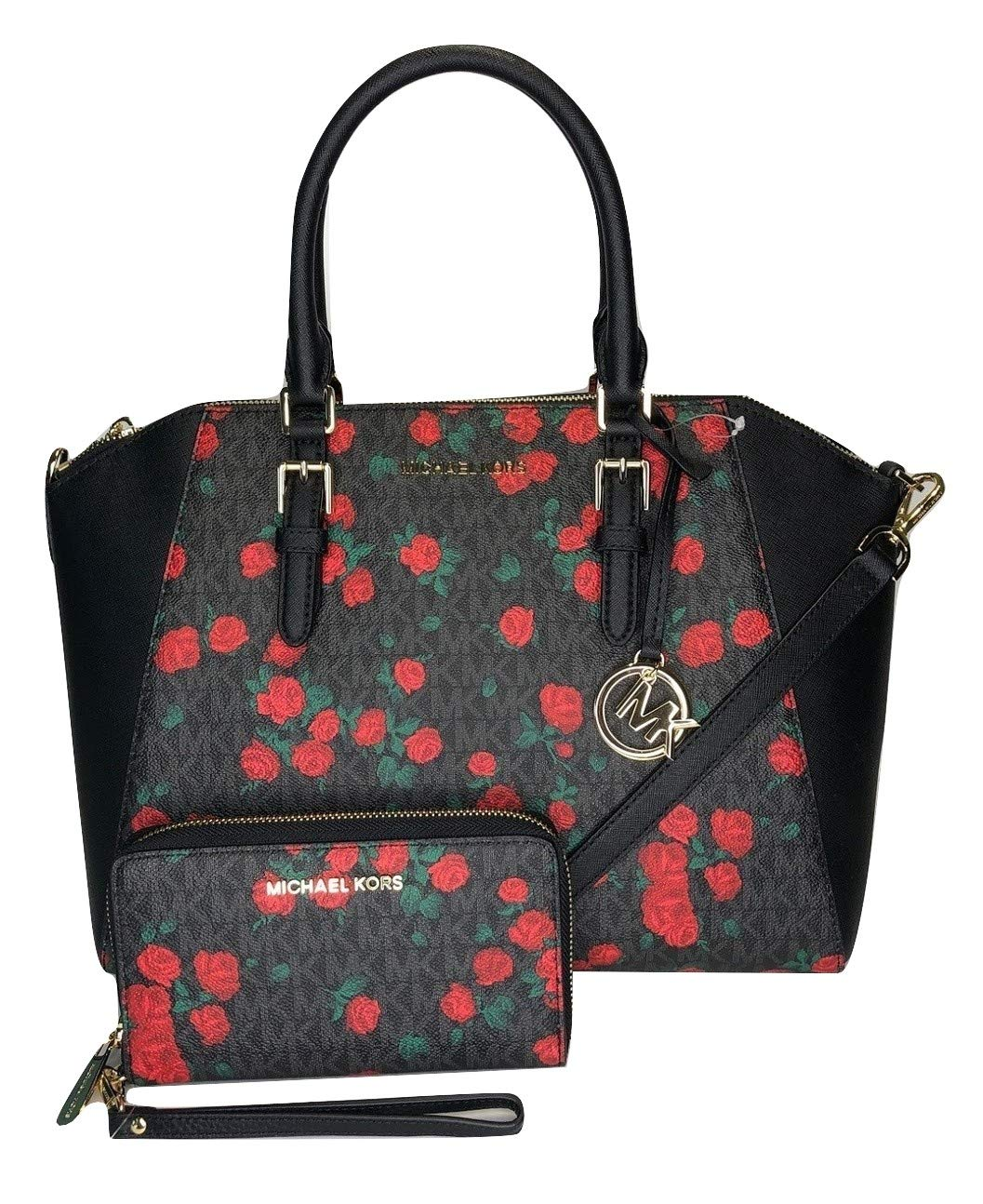 MICHAEL Michael Kors Ciara Large TZ Satchel bundled with Michael Kors Jet Set Travel Large Phone Wallet Wristlet (Signature MK Black/Red Roses)
