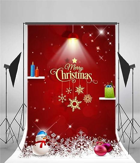 Amazon.com : AOFOTO 6x8ft Christmas Backdrop Snowman Sweet Xmas ...