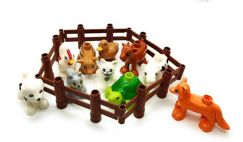 Aliris 10 Farm Animals Family Pets Figures for Toddler 5 Fences Duplo Compatible