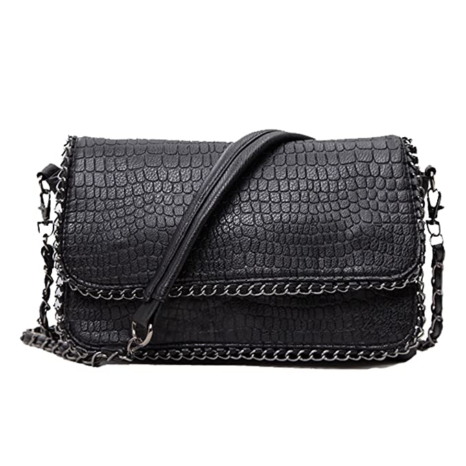 3f25fecf61a6 SEALINF Women's PU Leather Handbag Shoulder Bag Alligator Crossbody Chain  Bag