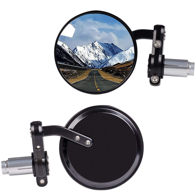 HANEU Rear View Side Mirror Bar End Convex Hawk-eye Motorcycle Mirror For 7//8 Handle Bars Fits Most Cruisers