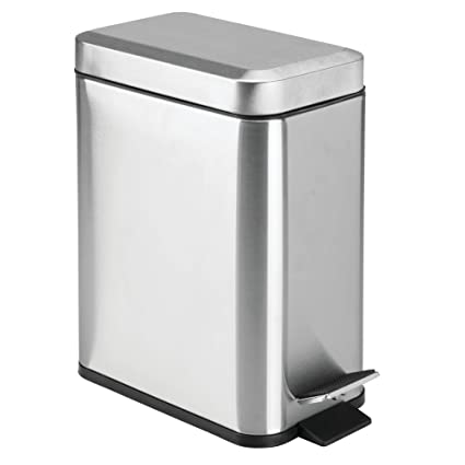 Mdesign 5 Liter Rectangular Small Stainless Steel Step Trash Can