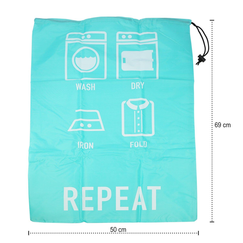 Bolsa de lavander/ía con Lemas ingeniosos y cord/ón para Cerrar 02 Piezas - Turquesa//Gris 69 x 50 cm com-four/® 2X Bolsa de lavander/ía en Turquesa y Gris