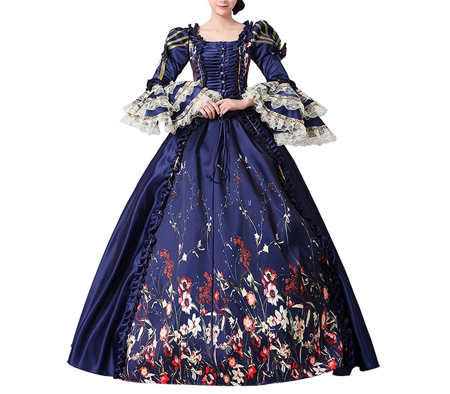 Nuoqi Damen Satin Gothic Victorian Prinzessin Kleid Halloween Fancy ...
