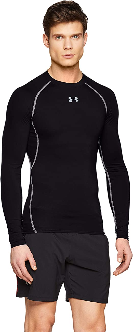 Under Armour Men's HeatGear Armour Compression Long Sleeve, Black (001)/Steel, Large