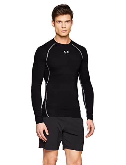 6b7375a6c Under Armour Men's HeatGear Armour Long Sleeve Compression Shirt, Black  (001)/Steel