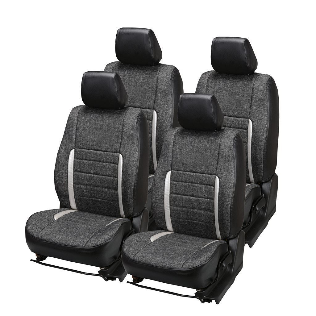 Hi Art Black and Silver Jute Car Seat Covers