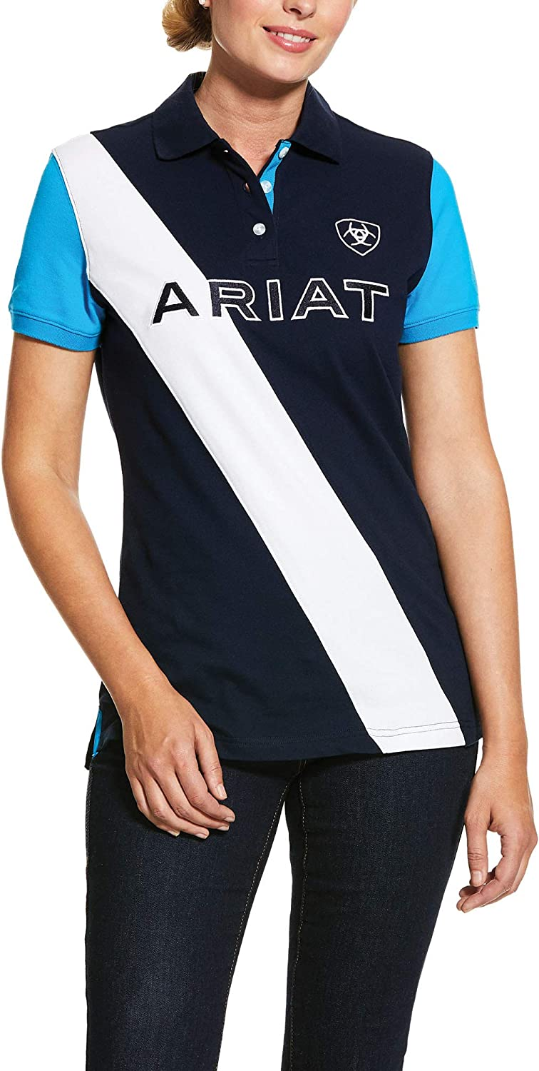 ARIAT Women's Taryn Polo T-Shirt Navy/Nautilus