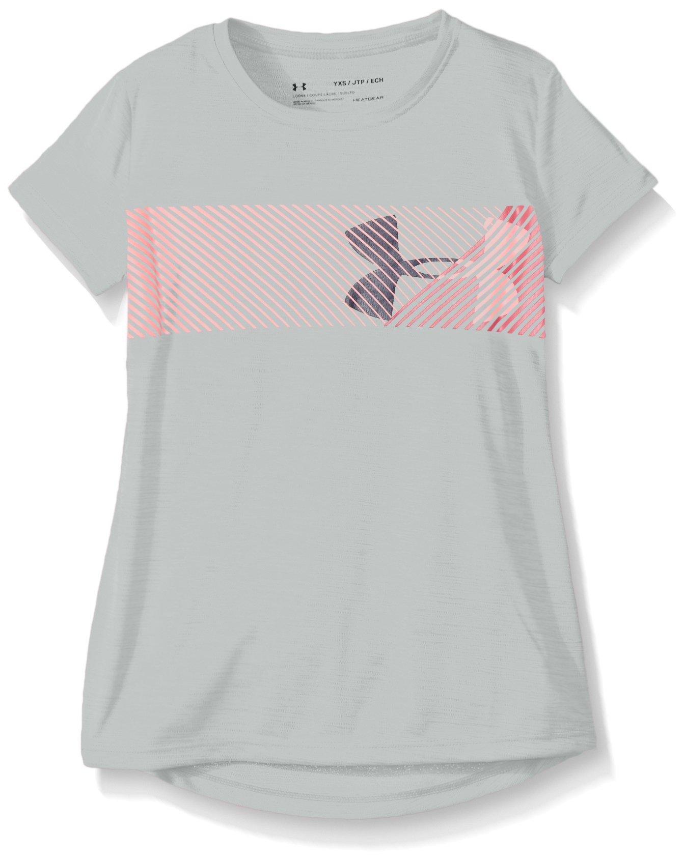 Under Armour Girls Hybrid Big Logo Tee, Overcast Grey/Coral, Large / 14-16 Big Kids