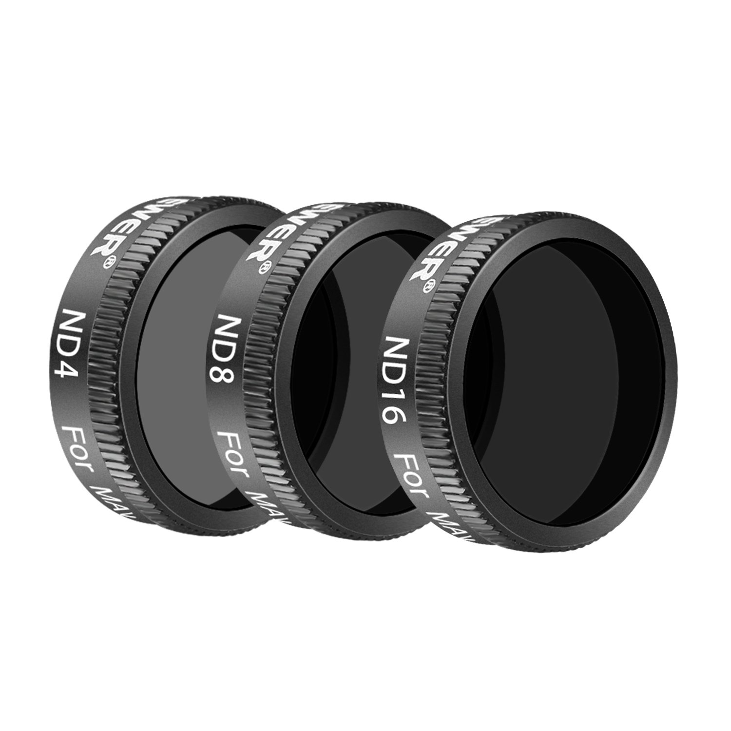 Neewer DJI Mavic Air Lens Filter Kit - 3 Pieces Pro Neutral Density Filters ND4, ND8, ND16 Filter, Made of Multi Coated Waterproof Aluminum Alloy Frame Optical Glass (Black) by Neewer
