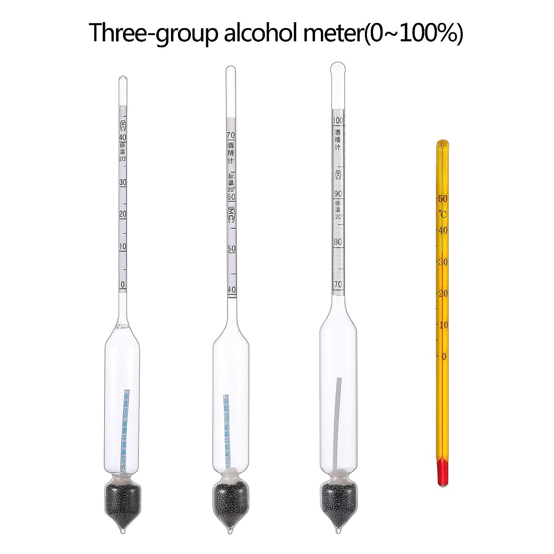 Thermometer Densitometer Messung Und Analyse Instrumente Praktisch 3 Pcs 0-100% Hydrometer Alcoholmeter Tester Set Alkohol Konzentration Meter