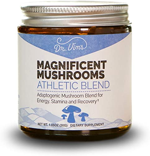 Magnificent Mushrooms Athletic Blend ATP Energy, Improve Recovery, Stamina, Organic, Adaptogen, Reishi, Chaga, Cordyceps 30 Servings