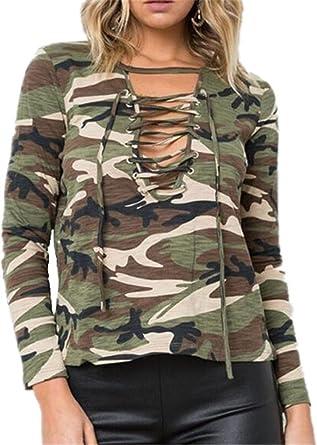 Kerlana Blusa Camiseta Casual Elegante AlgodÓN Cuello V para Mujer Tops Sexy Camuflaje T-Shirt Tirar de la Cuerda: Amazon.es: Ropa y accesorios