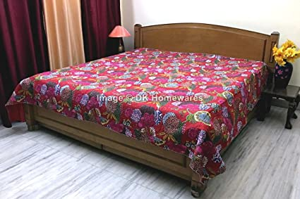 DK Homewares Indian Kantha Bedspread Quilt Red Queen Size Coverlet Hand  Stitched Cotton Tropicana Print Double
