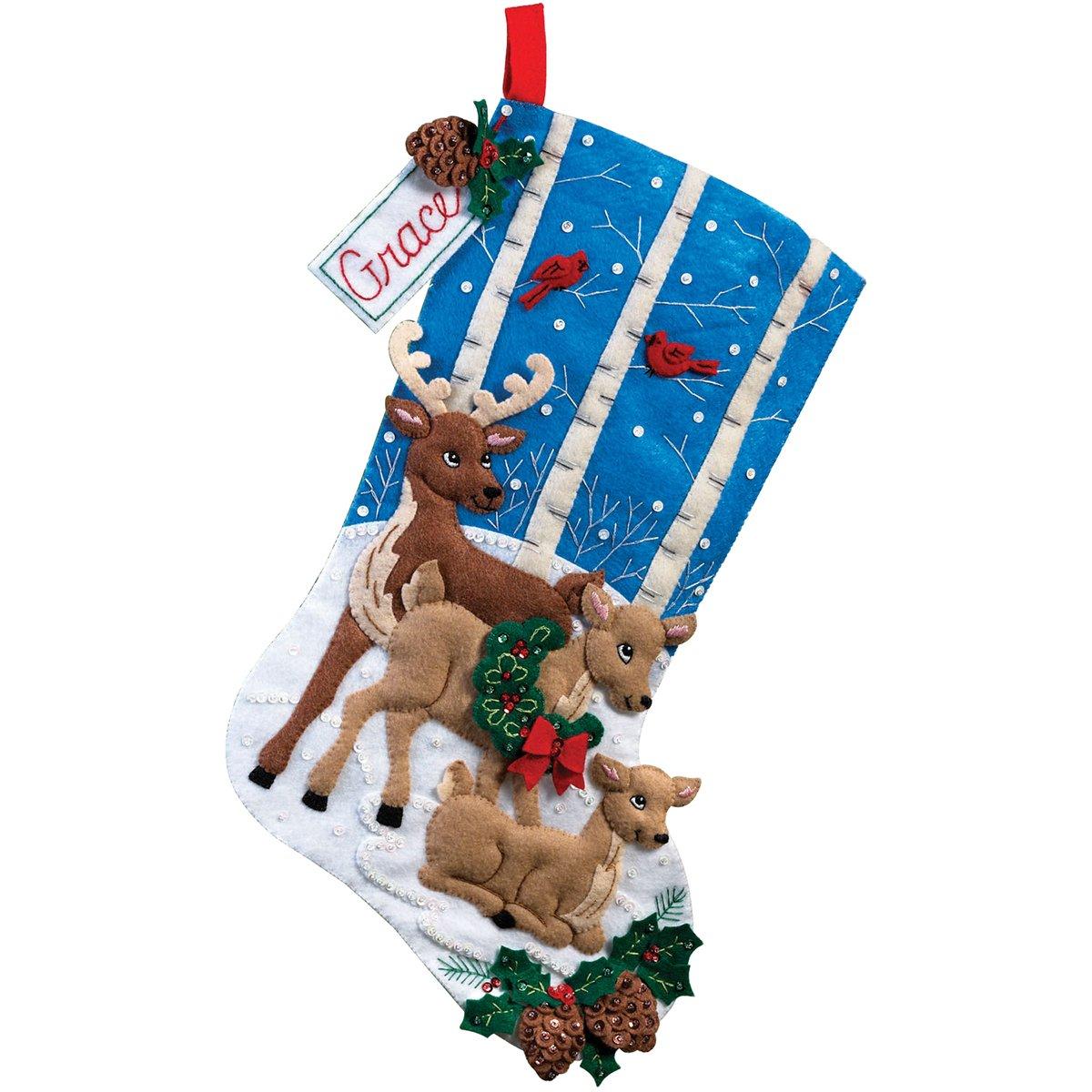Bucilla 18-Inch Christmas Stocking Felt Applique Kit, 86502 Deer Family Plaid Inc