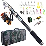 Fishing Rod and Reel Combo Carbon Fiber Telescopic Spinning Portable Fishing Pole Fishing Gear with Line Lure Hooks Fishing Bag for Sea Saltwater Freshwater Boat Fishing