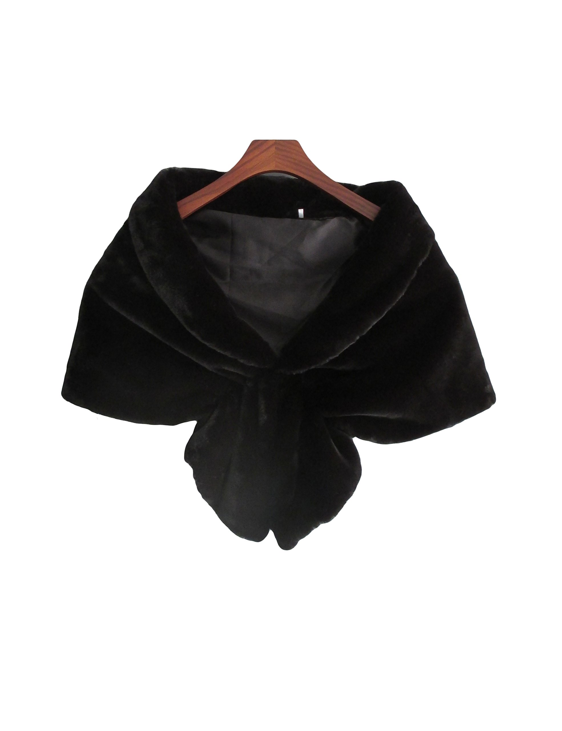 Skyfitting Women's Warm Faux Fur Shawls and Wraps for Wedding and Evening Party Regular Size Black