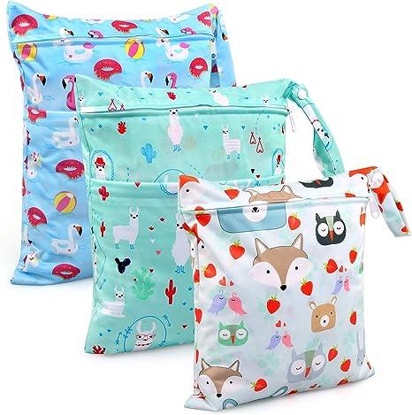 Bolsa de Pañales, BelleStyle 3 Pcs Reutilizable Wetbag, Impermeable Lavable con 2 Cremallera para Mamá de Bebé, Transpirable Organizador de Maquillaje de Colgar, Viajes, Playa, Piscina, Gym (Azul): Amazon.es: Bebé