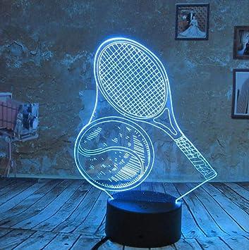 Luz de la noche Raqueta de tenis Luces de noche 3D para niños ...