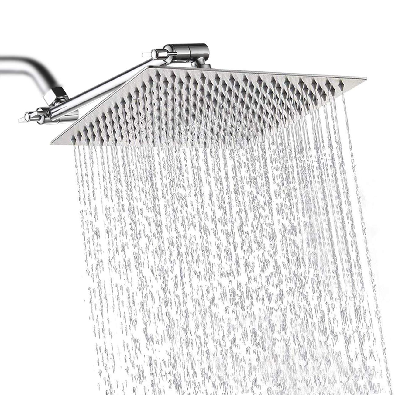 WILLSLAND 10 Rain Shower Head SUS304 Stainless Steel with 11 Adjustable Extension Arm, Rainfall Shower Head High Pressure Large Ultrathin Anti-leaking Design, Fixed Tightly Rain Shower