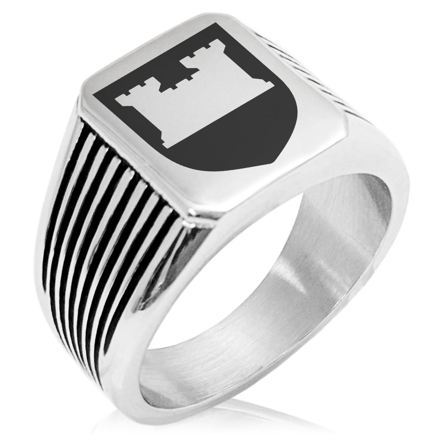 Two-Tone Stainless Steel Castle Protection Coat of Arms Shield Engraved Needle Stripe Pattern Biker Style Polished Ring, Size 9