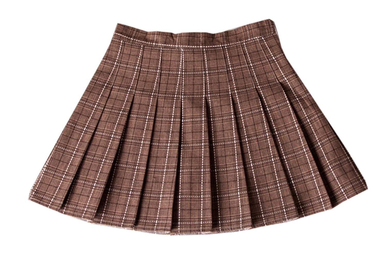 3256dfb75 Betusline Women's Plaid Pleated Skirt at Amazon Women's Clothing store: