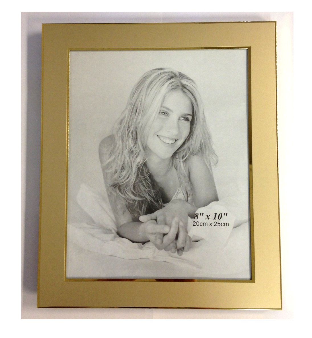 Upper Gifts Gold Metal 8 x 10 Picture Frame 2 Tone Brush Gold Finish with Shiny Inlay