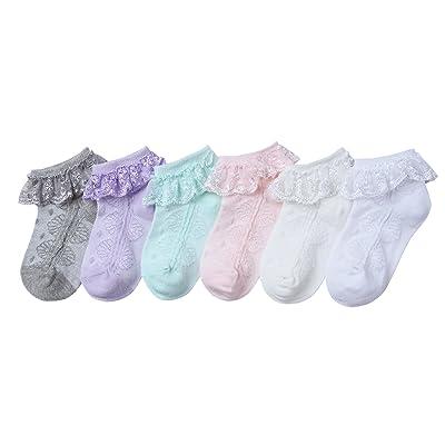 Ateid Lot de 6 paires de Socquettes en Dentelle pour Bébé fille 1-2 Années