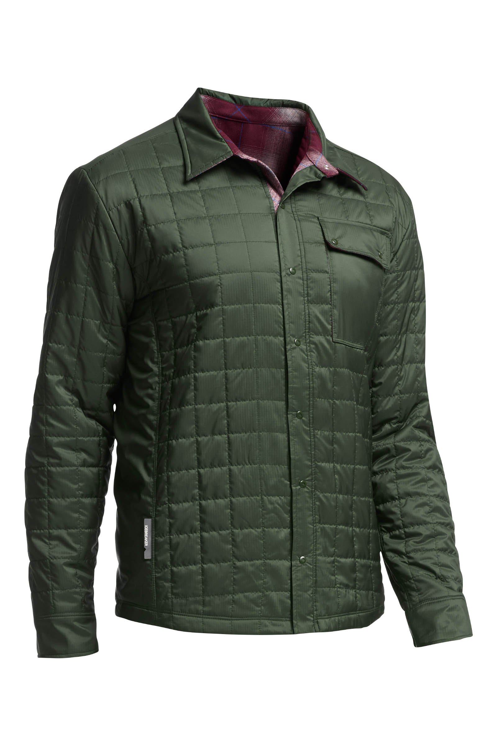 Icebreaker Merino Men's Helix Button Down Shirt Jacket, New Zealand Merino Wool, Conifer/Redwood/Awesome, Medium