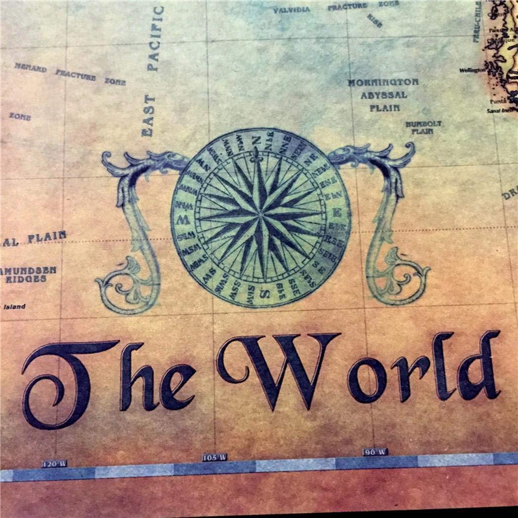 Oldhorse Autoadesivo del Manifesto della Decorazione della casa della Pittura della Carta di Arte della Mappa del Mare \'Oceano Nautico Stampe e Quadri su Tela