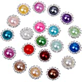 20pcs Mixed Color Faux Pearl Button 15mm Flatback Embellishment