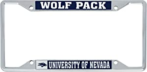 Desert Cactus University of Nevada Reno UNR Wolf Pack NCAA Metal License Plate Frame for Front or Back of Car Officially Licensed (Mascot)