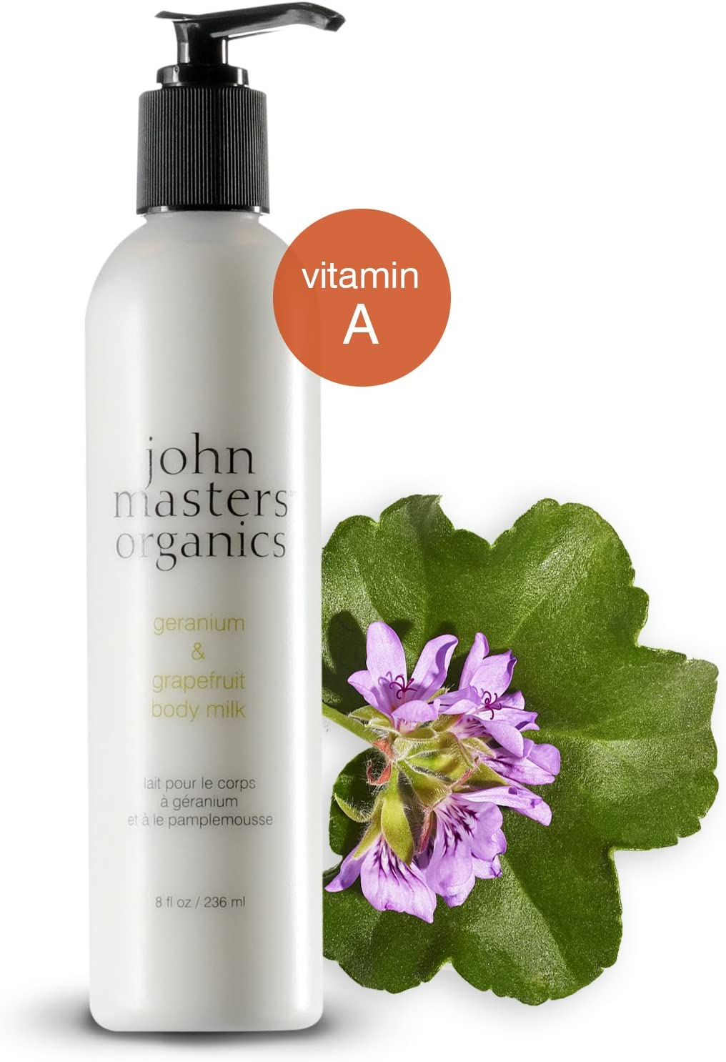 John Masters Organics - Geranium & Grapefruit Body Milk - Light Body Lotion to Hydrate, Moisturize & Soothe Skin with Coconut Oil, Aloe Vera & Vitamin C for All Skin Types - 8 oz