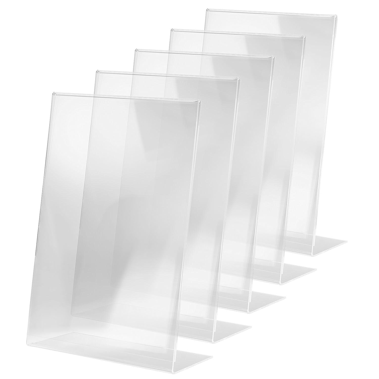 3 St/ück f/ür A5 weitere Gr/ö/ßen SIGEL TA212 Tischaufsteller schr/äg glasklar Acryl
