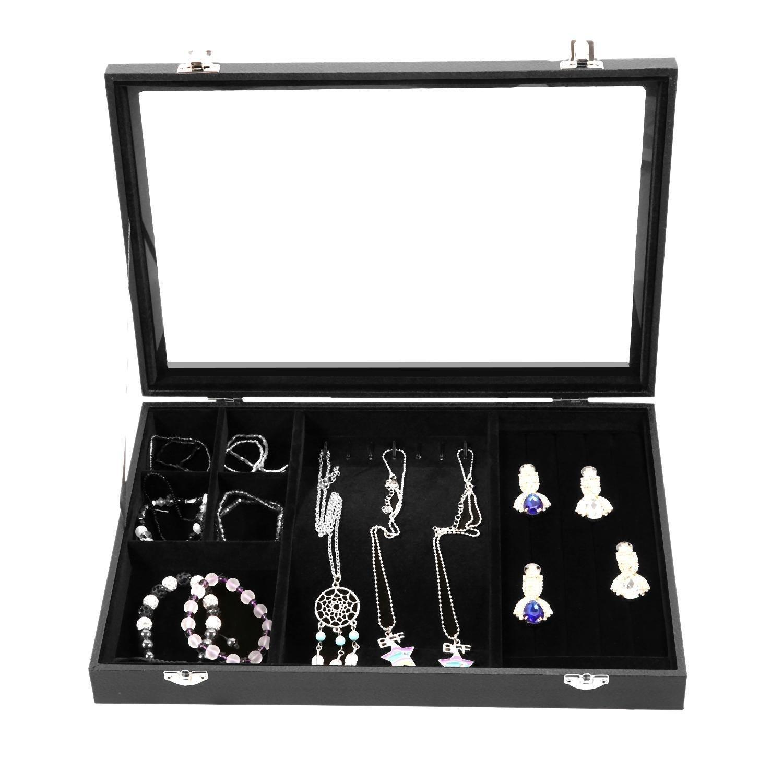 Amashion Jewelry LeatherDisplay Case Velvet with glass Travel Case and Lock, Holder for Earring Ring Necklace & Bracelet (Black)