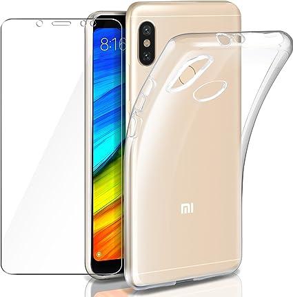 Funda + Cristal para Xiaomi Redmi Note 5, Leathlux Transparente Redmi Note 5 TPU Silicona [Funda