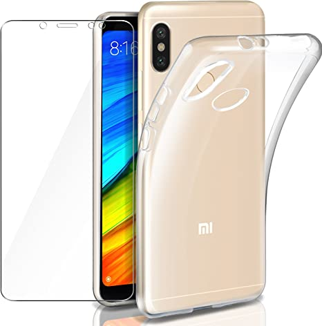 Funda + Cristal para Xiaomi Redmi Note 5, Leathlux Transparente Redmi Note 5 TPU Silicona [Funda + Vidrio Templado] Ultra Fino Protector de Pantalla y Flexible Back Case Cover para Xiaomi Redmi