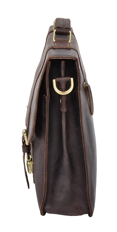 Mens Leather Briefcase Shoulder Cross Body Organiser Bag Office Work Satchel H8028 Brown