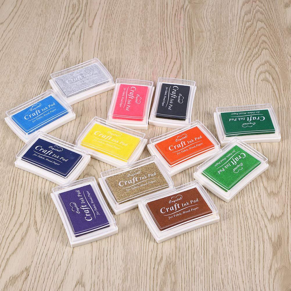 SUPVOX 10 pz Inkpad colorati Tampone di inchiostro multicolore DIY Ink Pad Stamp Craft Ink Pad Inchiostri Giocattoli fai da te Inchiostro dito