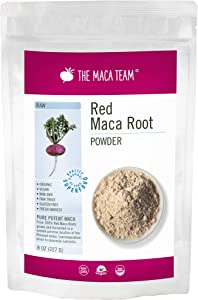 The Maca Team Raw Red Maca Powder, Fair-Trade, GMO-Free Maca from Peru, 8 Ounces, 25 Servings