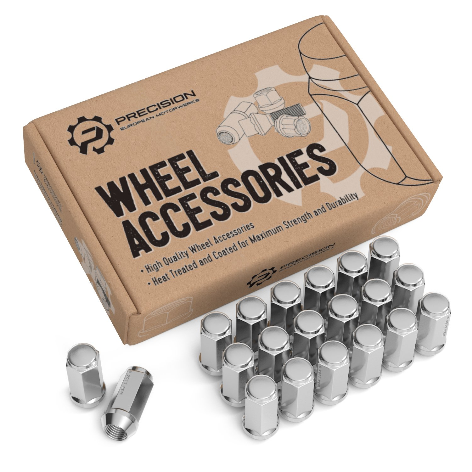 20pc Chrome Silver Bulge Lug Nuts 1/2''-20 Thread Size - Conical Cone Taper Acorn Seat Closed End - 1.4'' Length - for Jeep Cherokee Wrangler Liberty Rubicon CJ3 CJ5 CJ6 CJ7 Scrambler Sahara + More