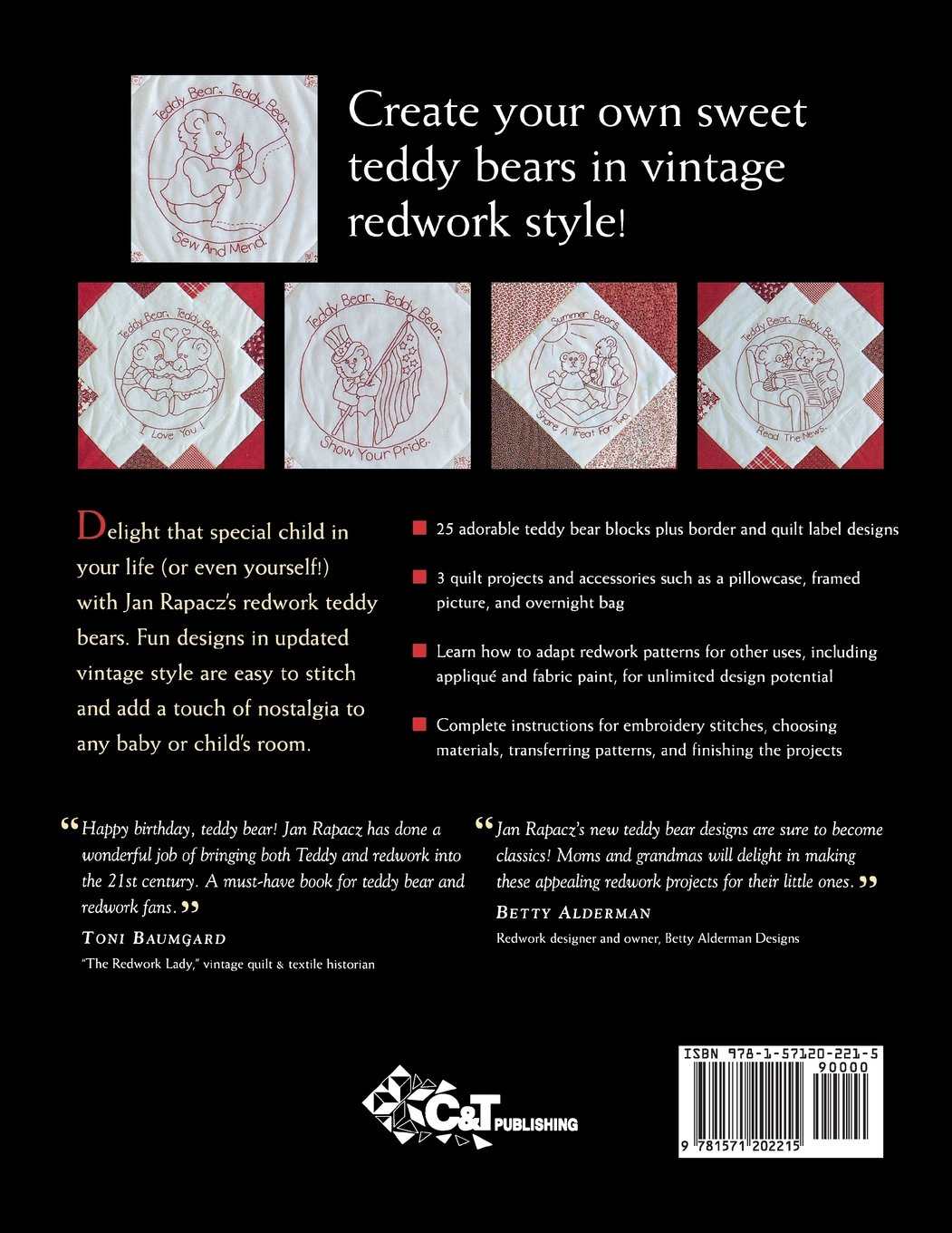 Teddy Bear Redwork: 25 Fresh, New Designs, Stepbystep Projects, Quilts  And More: Jan Rapacz: 9781571202215: Amazon: Books